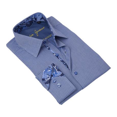 Geometric Button-Up Floral Trim // Blue (S)