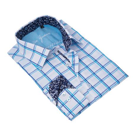 Plaid Button-Up Floral Trim // Blue + White (S)