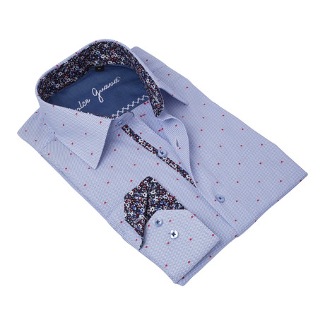 Textured Button-Up Floral Trim // Blue + Red (S)