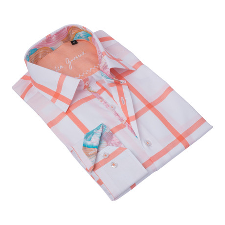 Rectangled Button-Up Floral Trim // Salmon + White (S)