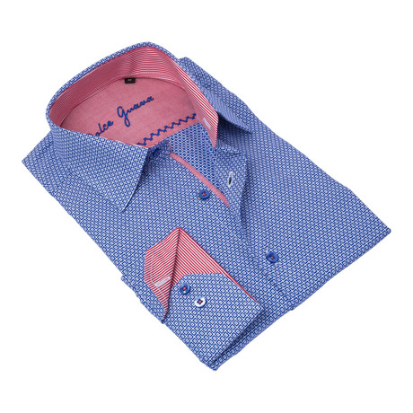 Geometric Button-Up Striped Trim // Blue + Red (S)