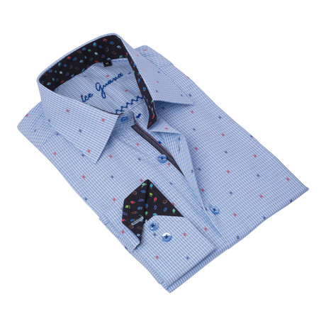 Geometric Button-Up Contrasting Trim // Blue + Red (S)