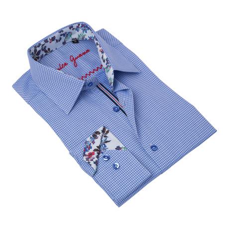 Geometric Button-Up Floral Trim // Blue + White (S)