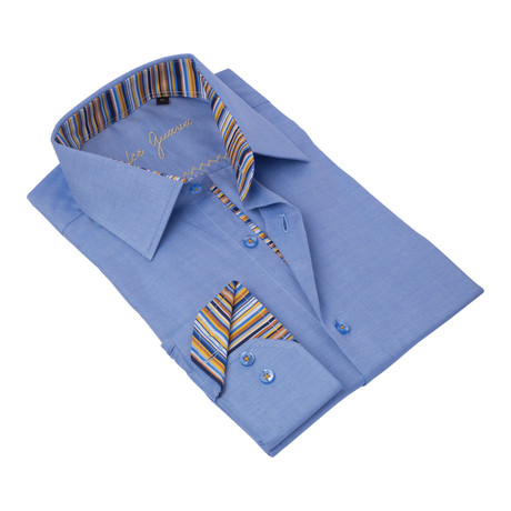 Textured Button-Up Striped Trim // Blue + Orange (S)