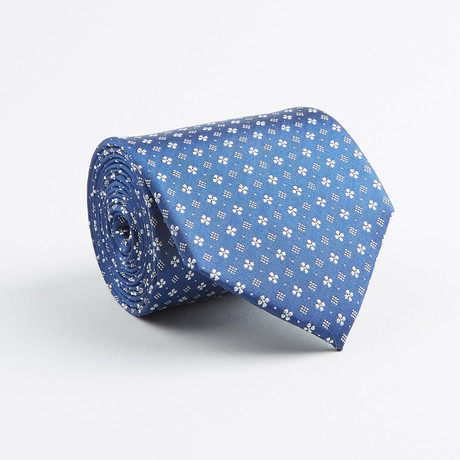 Mini Floral + Diamond Silk Tie // Blue