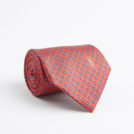Floral Dot Silk Tie // Red