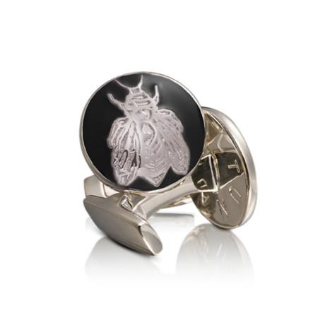 Napoleon Bee Silver Cufflinks // Baroque Black