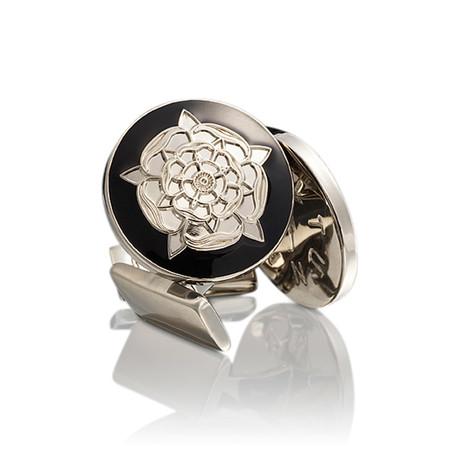 The Tudor Rose Silver Cufflinks // Baroque Black