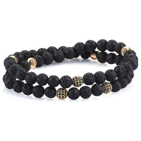 Double Beaded Bracelet // Gold + Lava Stone