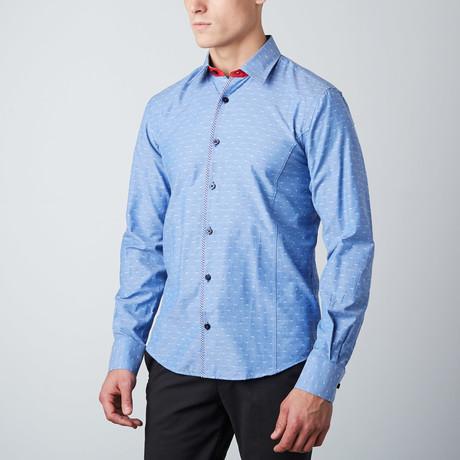 Slim Fit Plaid-Trim Button-Up Shirt // Blue