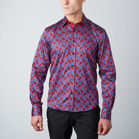 Paisley Solid-Trim Button-Up Shirt // Red (S)