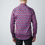 Paisley Solid-Trim Button-Up Shirt // Red (M)