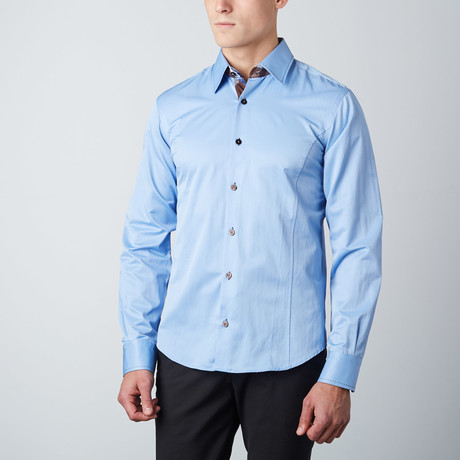 Plaid-Trim Button-Up Shirt // Blue (S)