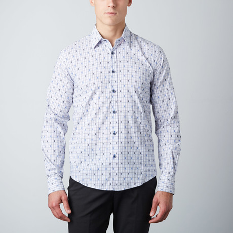 Jacquard Floral-Trim Button-Up Shirt // Navy (S)