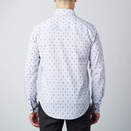 Jacquard Floral-Trim Button-Up Shirt // Navy (L)