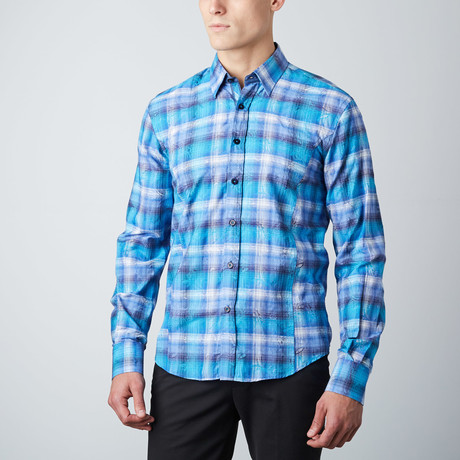Floral Plaid Button-Up Shirt // Blue