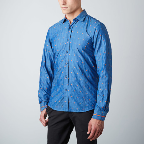 Falling Leaves Button-Up Shirt // Indigo + Orange (XL)