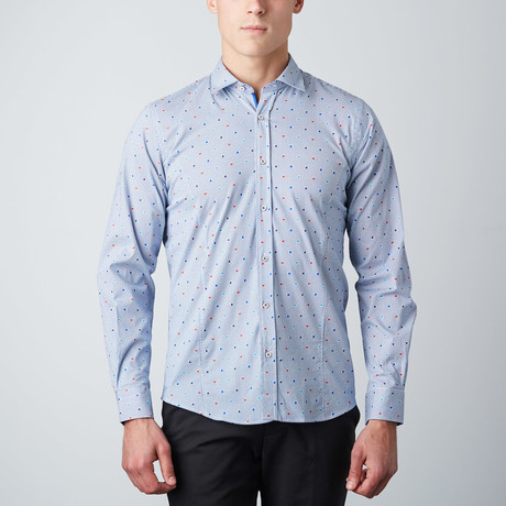 Floral Pinstripe Button-Up Shirt // Blue + White (S)