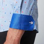 Floral Pinstripe Button-Up Shirt // Blue + White (3XL)