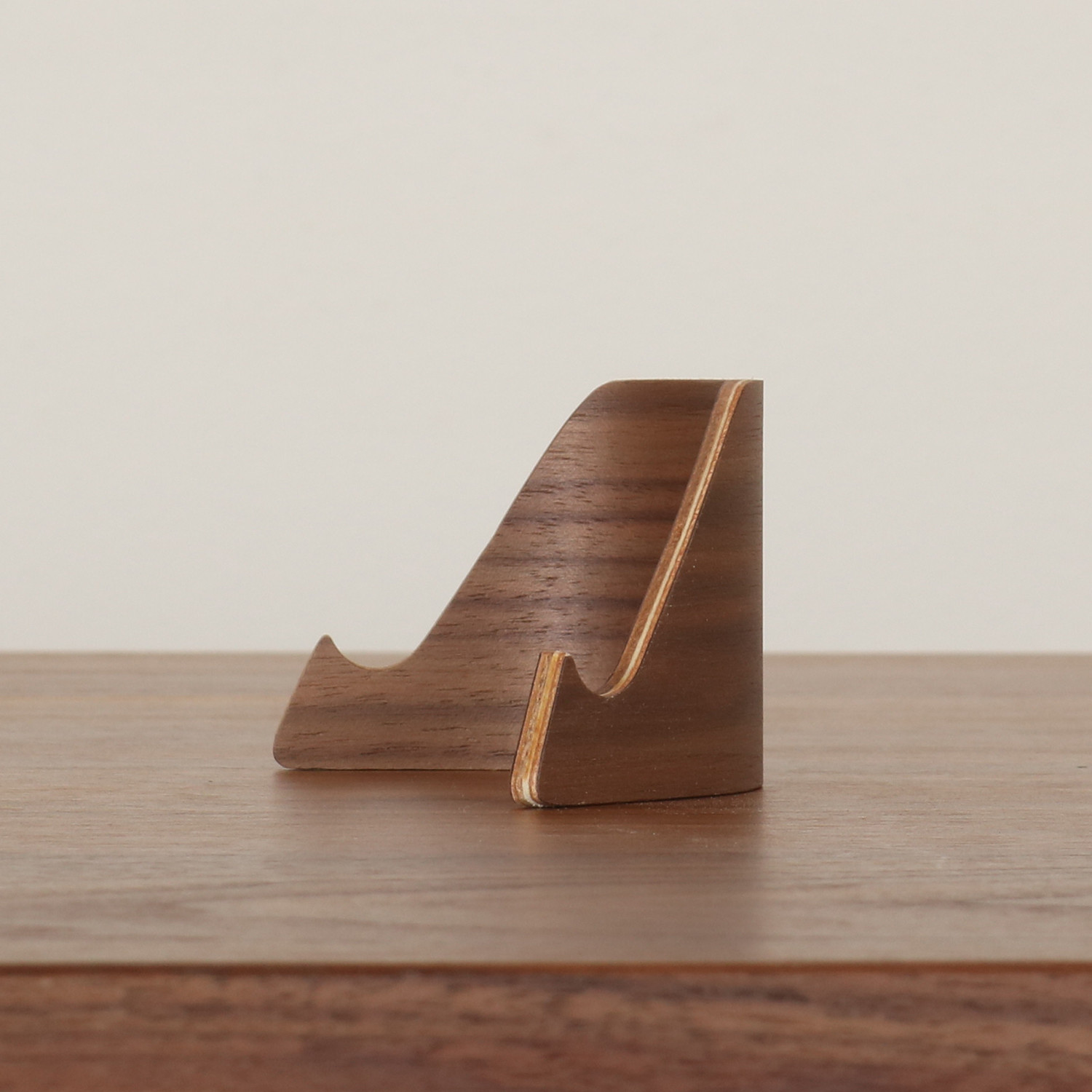 Plywood Business Card Holder + Phone Stand (walnut)