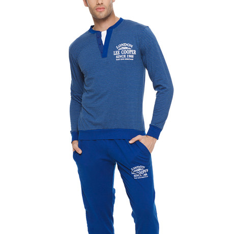 Henley Long Sleeve Cotton Pajama Set // Blue