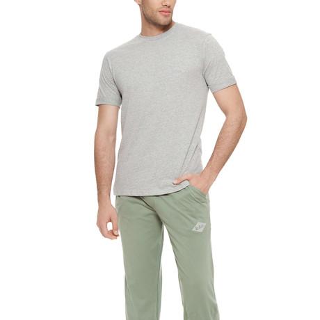 Diamond Short Sleeve Cotton Pajama Set // Grey Melange + Green