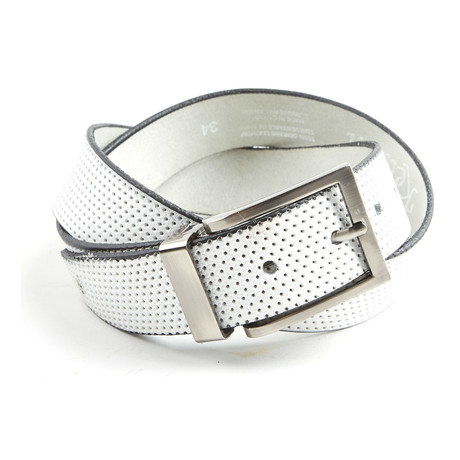 """Perforated Belt // White (Size 30"""")"""