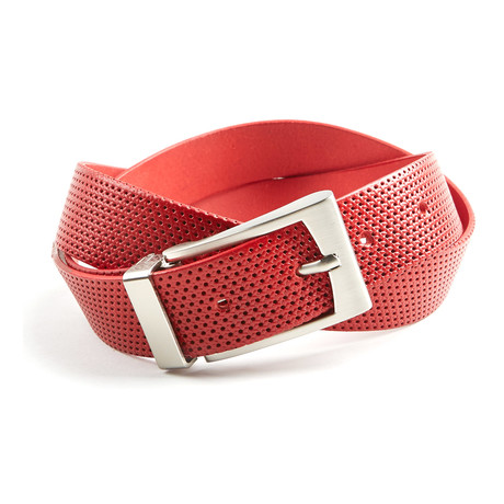 Perforated Belt // Red