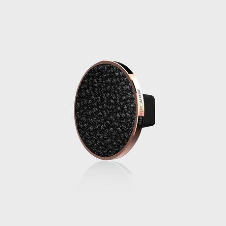 JustClick Magnetic Car Mount // Rose Gold + Black Napa Leather (Single Mount)