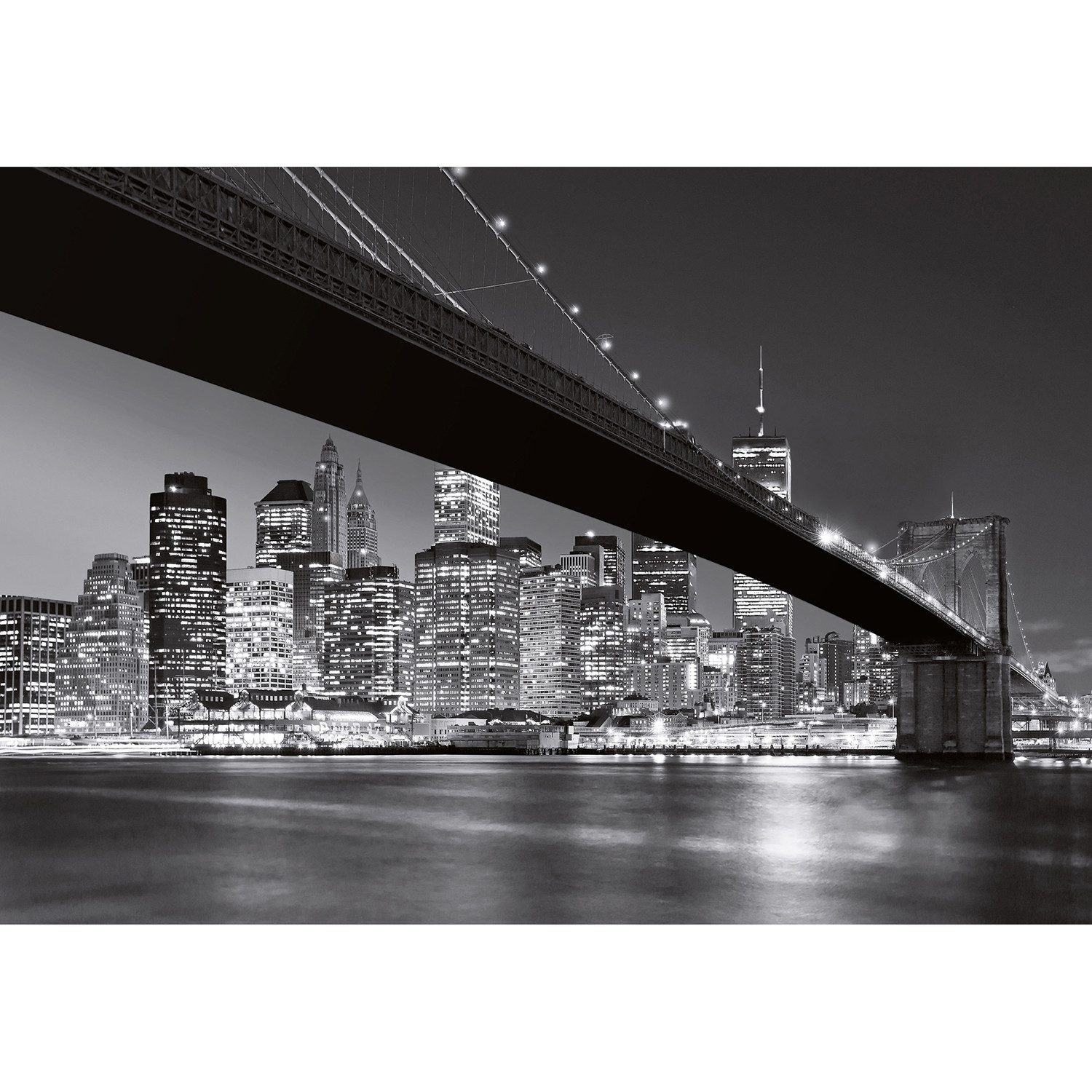 Brooklyn bridge ny wall mural brewster home fashions for Brooklyn bridge black and white wall mural