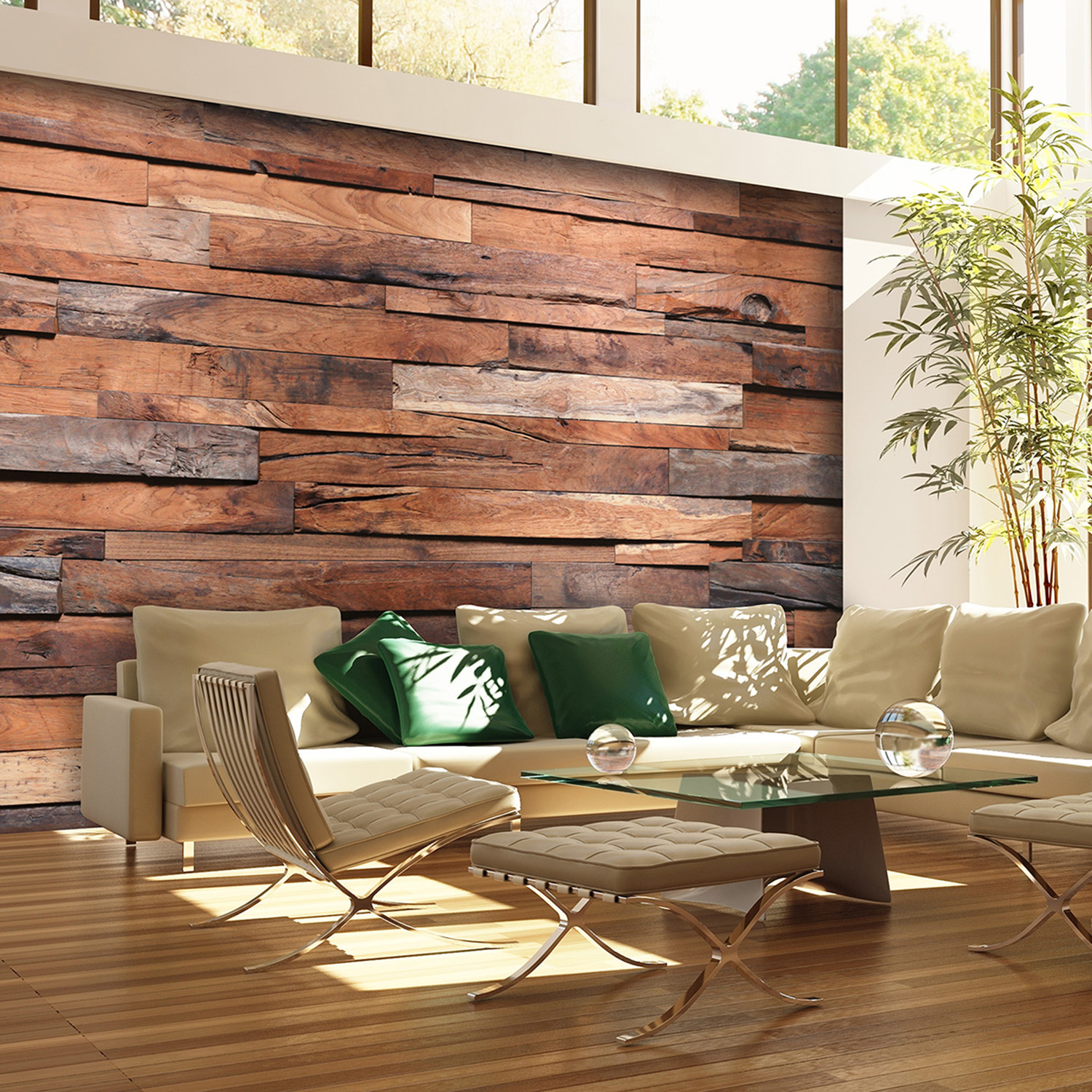 Reclaimed Wood Wall Mural Brewster Home Fashions Touch of Modern