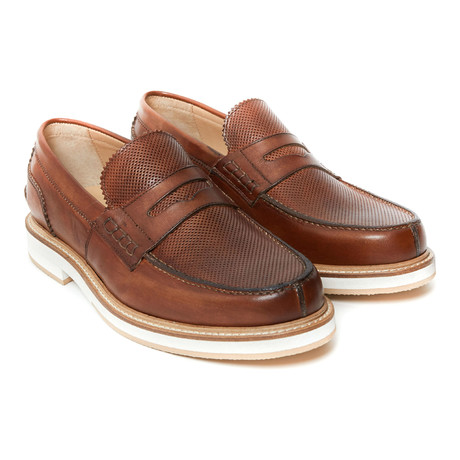 Textured Penny Loafer // Brown