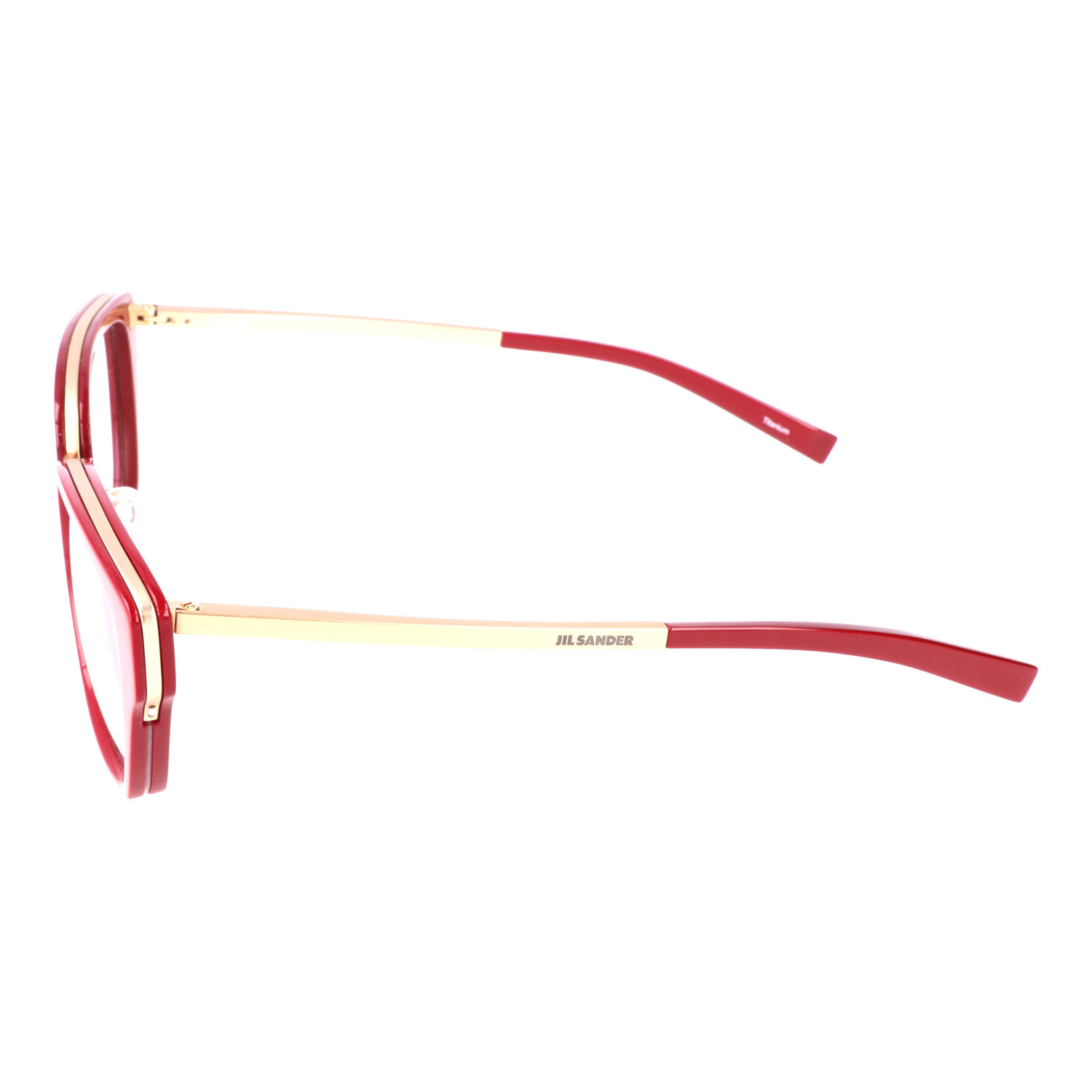 cde12031542 Thick Inlaid Wing Rim Rectangle Metal Frame    Red + Gold - Designer ...