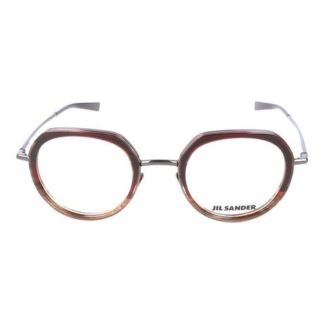 3a022d475b5 Thick Inlaid Metal Rim Circular Frame    Brown + Gunmetal