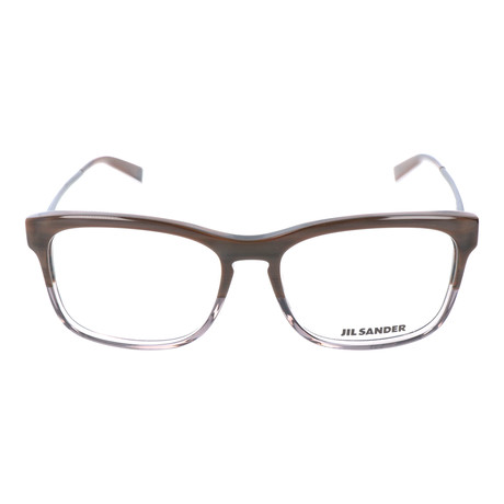 Unisex Thick Rim Metal Temple Square // Brown + Gray + Silver