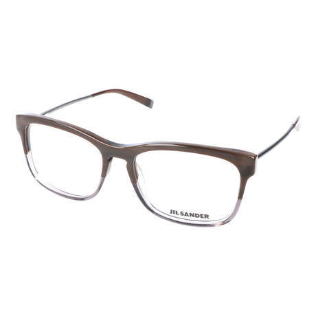 Unisex Thick Rim Metal Temple Square Optical Frames // Brown + Gray + Silver