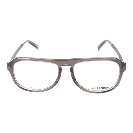 Straight Brow Thick Rim Rounded Square Frame // Clear Grey + Gunmetal