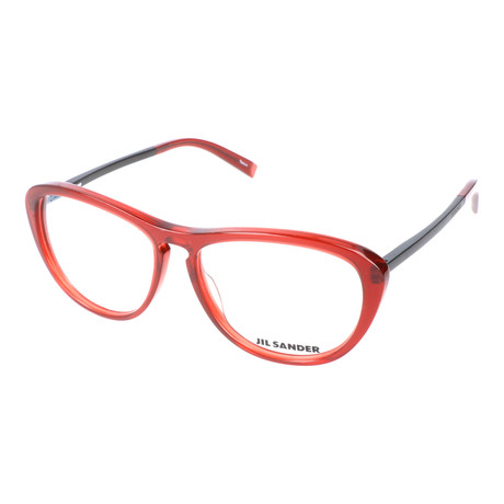 Unisex Oversized Thick Rim Temple Winged Optical Frames // Red + Black