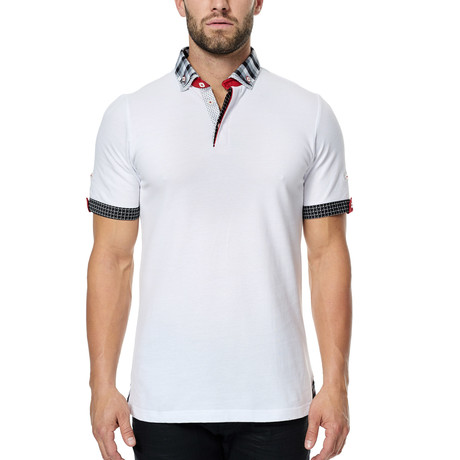 Patterned Trim Polo // White