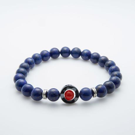 Lapis Lazuli + Hematite Beaded Bracelet // Navy