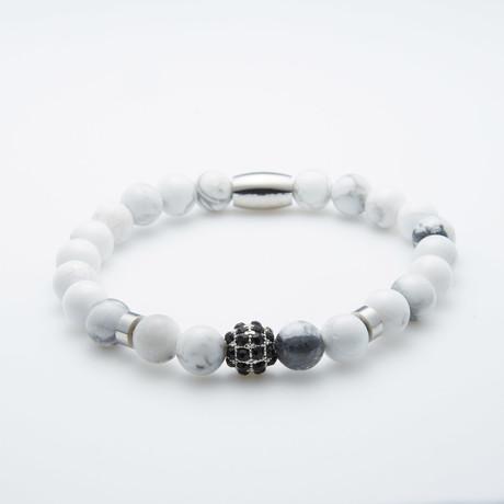 Turquoise + Rhinestone Beaded Bracelet // White