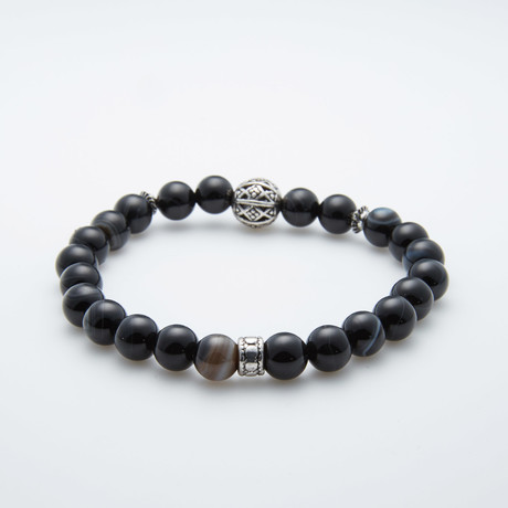 Jean Claude Jewelry // Striped Agate + Silver Charms Bracelet // Black + Silver