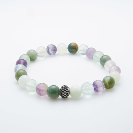 Agate + Quartz + Amethyst Ice Beaded Bracelet // Multi