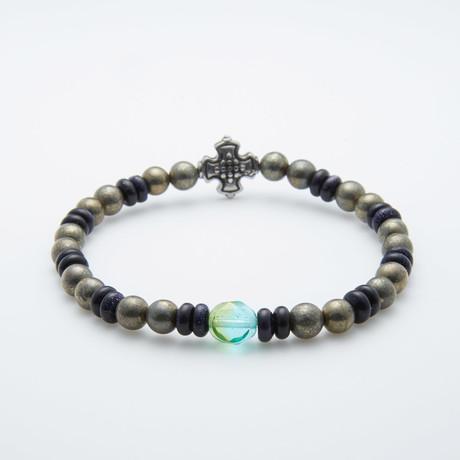 Dell Arte // Pyrite + Roundel Gold Stone + Cross Charm Bracelet // Multicolor