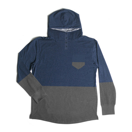 Century Hooded Henley // Navy + Charcoal