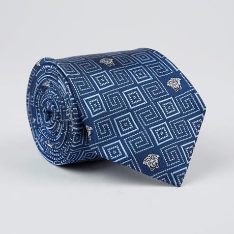 Concentric Square Maze Medusa Silk Tie // Blue + Light Blue