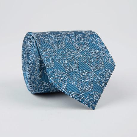 Medusa Outline Silk Tie // Bluette
