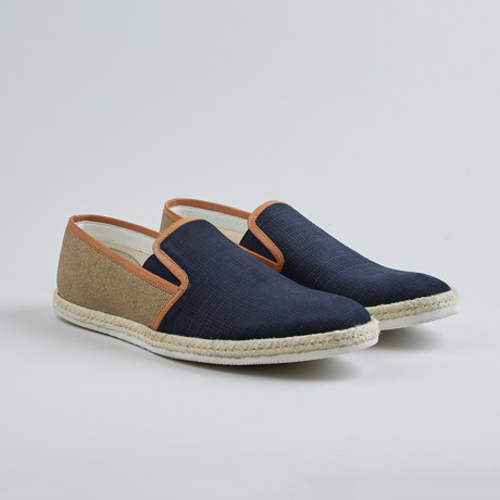 Batter Up Slip-On Sneaker // Blue + Khaki