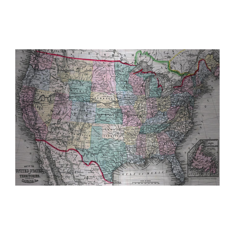 US Territories Map Brushed Aluminum W X H X D - Us territories map