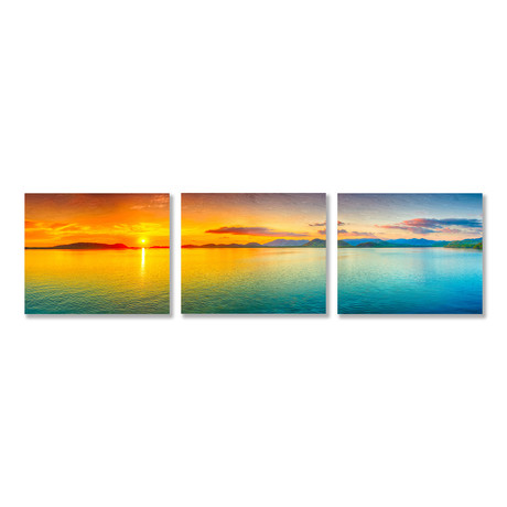 Golden Sunset Triptych